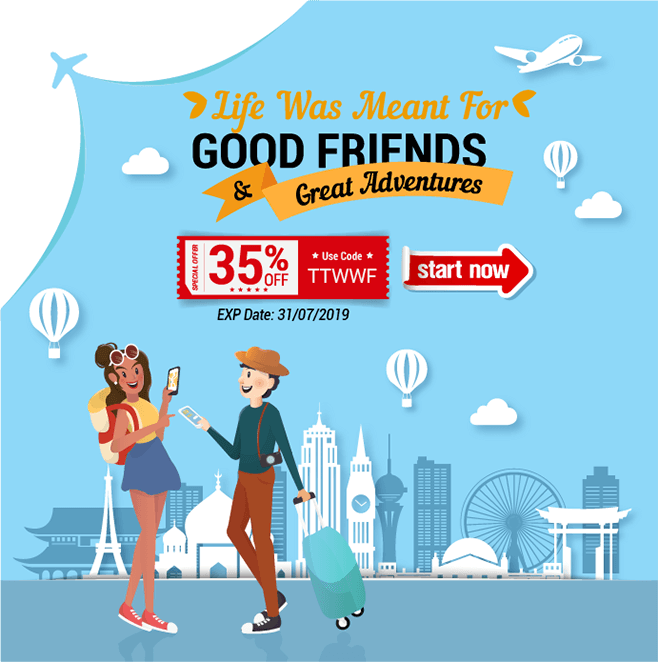 Travel is better with friends. 35% e-Visa discount for you and your friends to travel the world